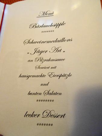 Wochner's Hotel Sternen: Menü-Karte