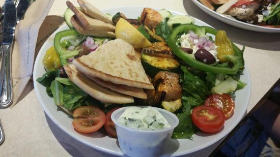 Zoes Kitchen Salmon Kabob greek chicken pita - picture of zoes kitchen, marlton - tripadvisor
