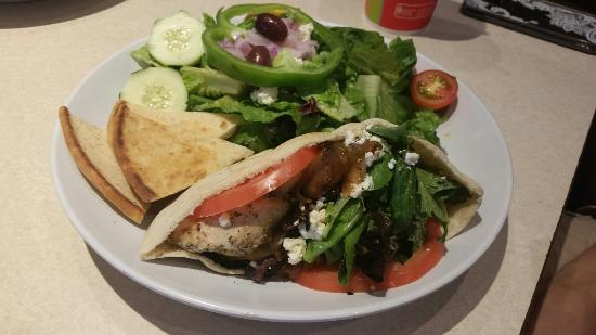 Zoes Kitchen Greek Chicken Pita greek chicken pita - picture of zoes kitchen, marlton - tripadvisor