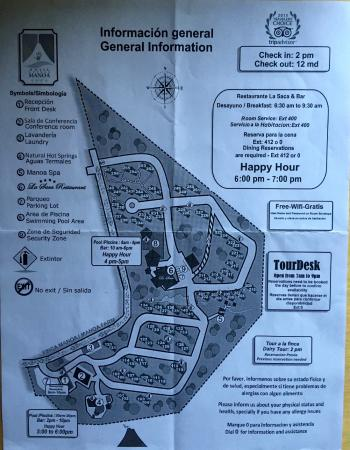 Arenal Manoa Hotel: Hotel grounds map.