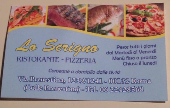 Ristorante Pizzeria Lo Scrigno Al Colle Prenestino