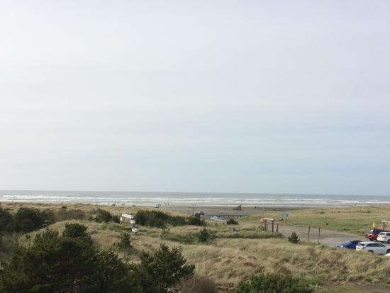 Long Beach, WA: There is a wide area of dunes and grass before you reach the beach.