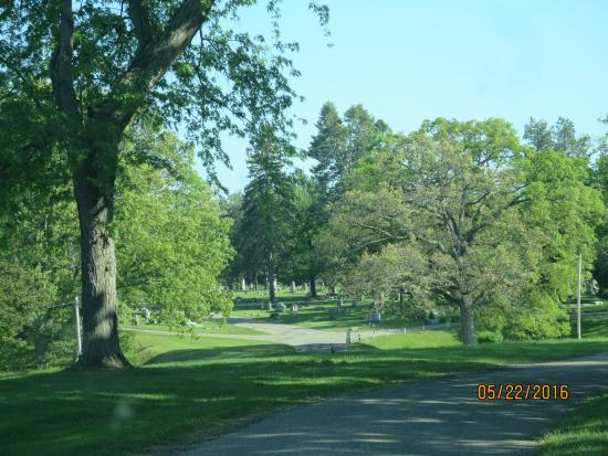 Coldwater, MI: Long view of one of the lanes in the southern cemetery.