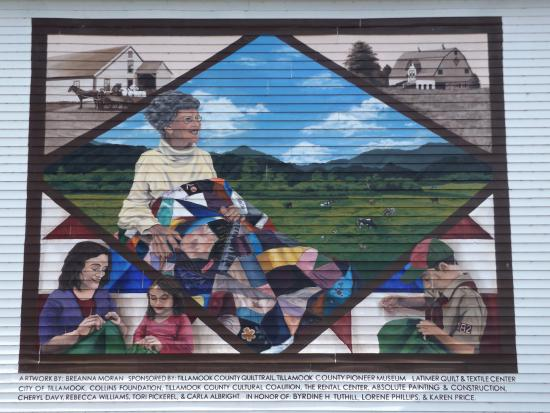 A mural at the Latimer Quilt & Textile Center