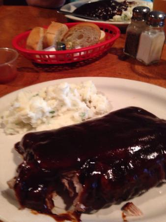 Burnsville, MN: Meat falls off the bones. Excellent smokey BBQ sauce. Get the Garlic Mashed Potatoes.