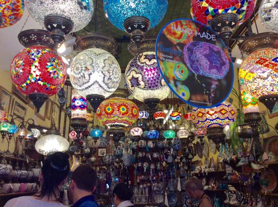 Fethiye, Turkiet: The interior of the shop with wonderful Turkish lamps.