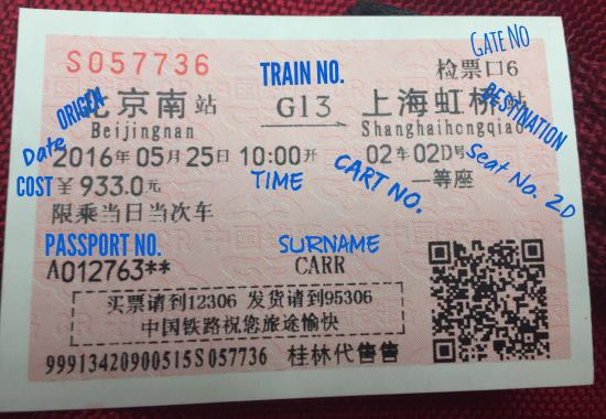 Shanghai, Kina: Explanation of Chinese railway tickets. Bought the tickets through China Highlights website.