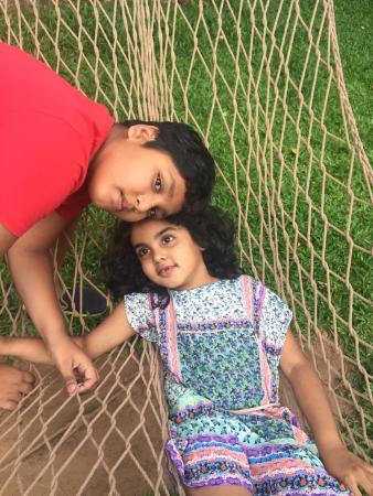 Orange County, Coorg: kids on hammock
