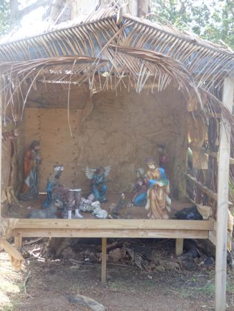 Scarborough, Tobago: Broken Nativity scene in March