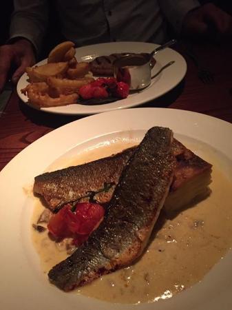 Burton upon Trent, UK: Sea bass and sirloin steak