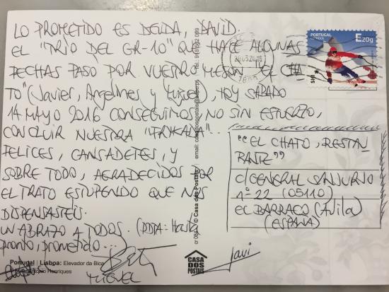 Hostal Restaurante El Chato: Agradecimientos q nos hacen llegar vía correo ! Como toda la vida ...