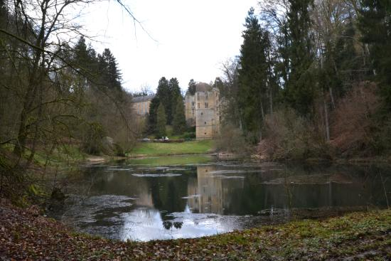 Auberge Rustique : The castle and pond near the hotel.