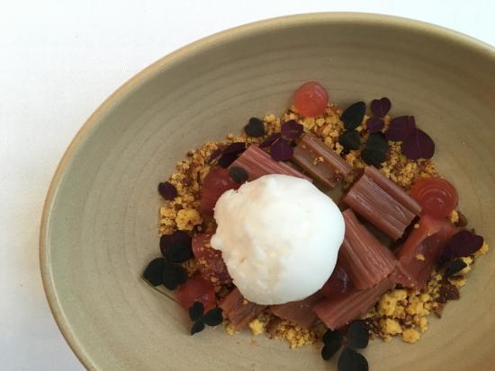 Praestekilde Hotel Restaurant: Excellent dessert on rhubarb!