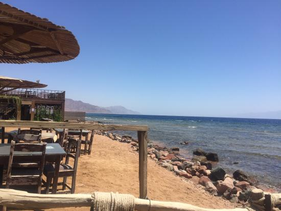 The Mirage Village Hotel: View from the Bedouin area and the restaurant