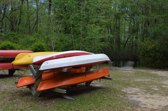Watercraft stands at the ready to be used on the South Edisto River in Aiken State Park, South C