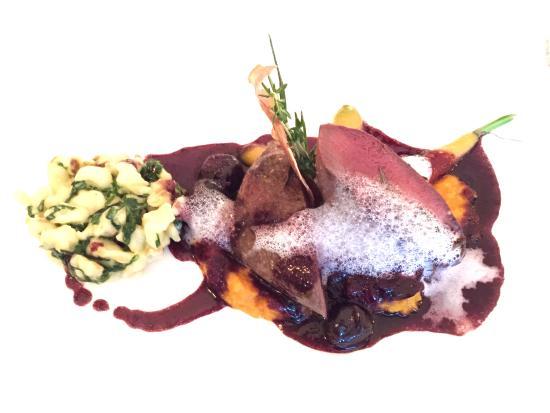 Restaurant Salmen : Main: roe bock with cherry sauce, spaetzle wich chard & carrot-vanilla puree