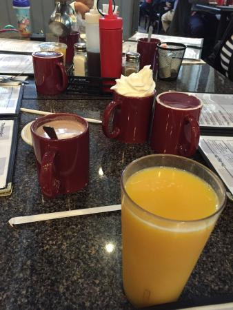 Norton, MA: Orange juice and hot chocolate with whipped cream
