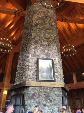 Tabernash, CO: Floor-to-ceiling, hexagonal fireplace