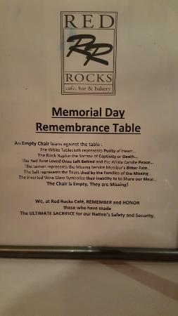 Red Rocks Charlotte: Nice to se our service men and women remembered
