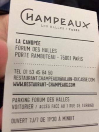 Restaurant Champeaux La Fameuse Carte De Visite