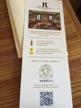 Marrol's Boutique Hotel Bratislava: Dining information