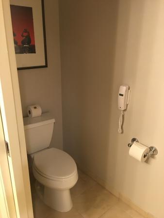 Separate toilet room with sliding pocket door - Picture of Kimpton on glass in bathroom, walk-in closet in bathroom, shoe molding in bathroom, sliding doors in bathroom, skylight in bathroom, accessories in bathroom, lighting in bathroom, wainscoting in bathroom, microwave in bathroom, fireplace in bathroom, ceiling fan in bathroom, cabinets in bathroom, base molding in bathroom, window in bathroom, mirror in bathroom, dressing room in bathroom, insulation in bathroom, corian countertops in bathroom, recliner in bathroom, crown molding in bathroom,