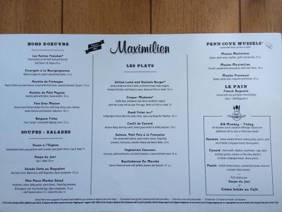 Maximilien seattle menu
