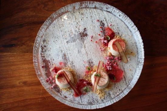 Spoonbar: Almond Mousse, Rhubarb 4 ways