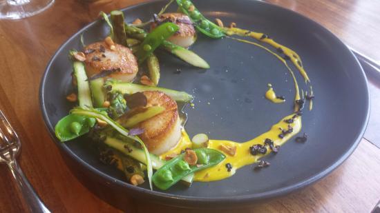 Spoonbar: Seared dayboat sea scallops, peanut-turmeric sauce, puffed black rice
