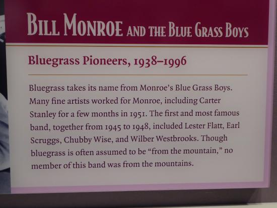 "Clintwood, Вирджиния: Exhibit describing the origin of the term ""bluegrass"" and Bill Monroe"