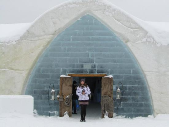Me standing outside the entrance to the Hotel de Glace