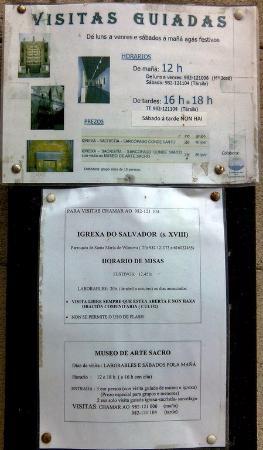 Monasterio de San Salvador: Indications données aux touristes... attention erreur (pas de visite à 16h)