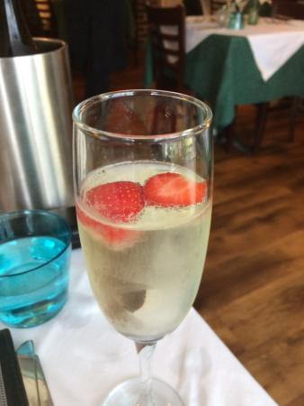 Limes Bistro: prosecco with strawberries. Don't mind if i do. Thanks Kirsty