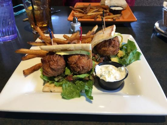 Boatyard Pizzeria & Grill: Falafal towards front and veggie wrap in back.