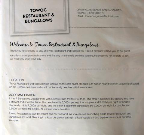 Towock Restaurant and Bungalows: Contacto, dirección y precios - octubre 2015