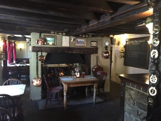 Hamble, UK: Bar area with log fire