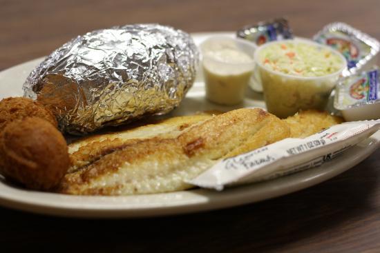 Rose Hill Seafood Company: Tilapia/ Baked Potato/ Coleslaw/ Hush Puppies