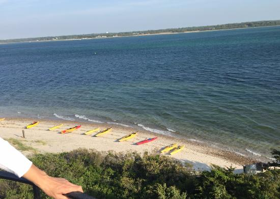Long Pasture Wildlife Sanctuary : view of kayaks and beach from lighthouse