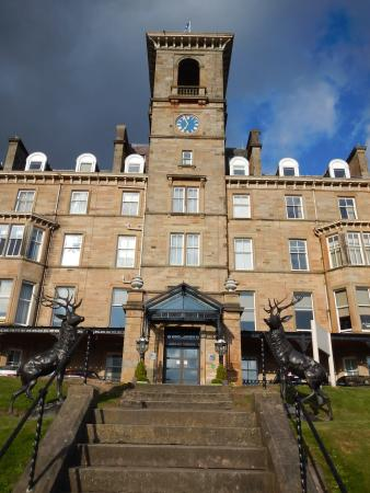 Dunblane, UK: The main entrance, stags and all