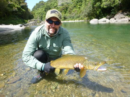New Zealand Trout Adventures: Personal best brown trout on a dry fly.