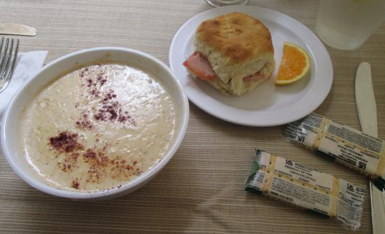 Grace Church Cathedral: Crab Soup with a Ham Biscuit