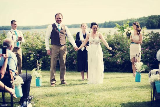 Stout's Island Lodge: View of Wedding Ceremony overlooking Red Cedar Lake