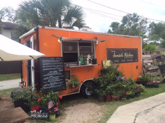 Food truck next to coffee wine beer bar picture of for Food truck bar