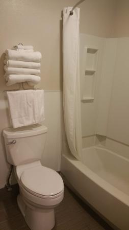 Super 8 Springfield/Eugene: Toilet and shower