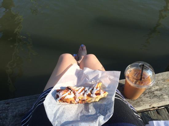 Sugarbakers : Cinnamon twist + iced coffee + beautiful weather = perfect morning!