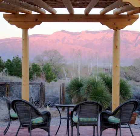 Chocolate Turtle Bed and Breakfast: Relax in our gazebo with a view of the Sandias