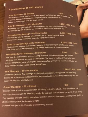 Aqua Spa at Avista Hideaway MGallery by Sofitel: Price list for your  reference