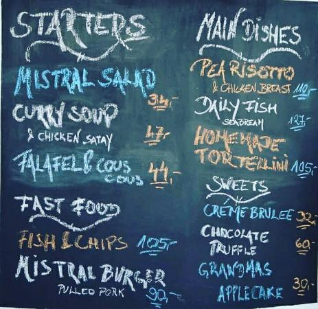 Mistral Beach Bar and Restaurant : Mistral daily menu