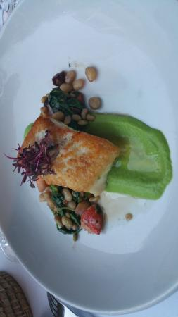 The pan-seared Halibut over pea jus