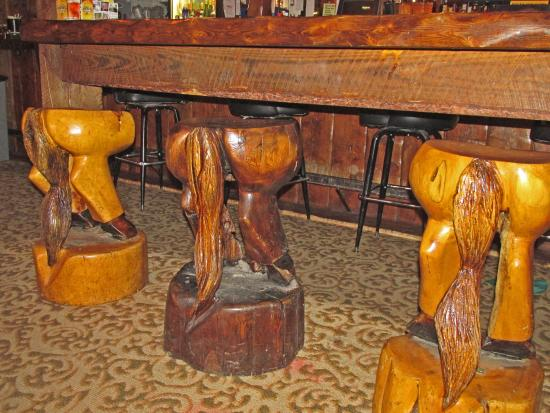 Sensational Rustic Wooden Bar Stools At The Rusty Rail Lounge Picture Camellatalisay Diy Chair Ideas Camellatalisaycom